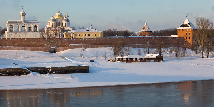 View of St. Sophia & River from outside the Kremlin, Novgorod