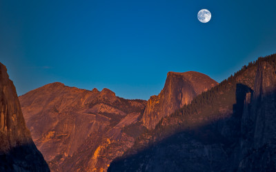 Full Moonrise at Sunset over Half Dome